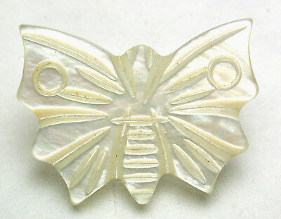 """Antique Carved MOP Shell Button Realistic Butterfly - Beautiful 1"""""""
