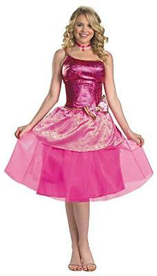 Adult Barbie Costume Large Womens Halloween Dress Pink Sparkle DELUXE Disguise