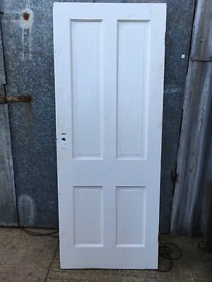 "30""x76 3/4"" Reclaimed Victorian Painted Pine Four Panel 2 Over 2 Internal Door"