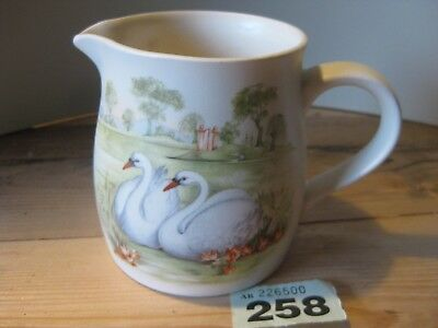 Unmarked Decorative Jug Swans Birds on a Lake Green White