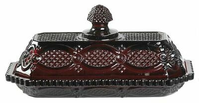 1983 Avon Cape Cod Collection Ruby Red Glass Covered Butter Dish 1876