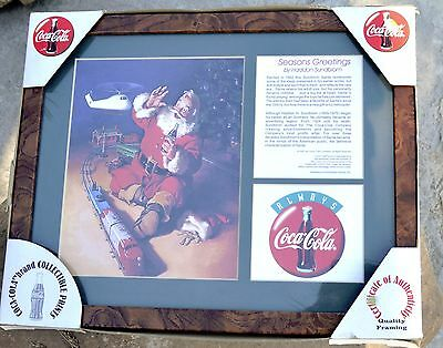 Vtg Santa Claus Train COCA COLA framed print by Haddan Sundblom 1998 Collectible