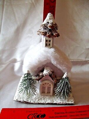 """Glitter house Christmas Village house with bottle brush trees approx 7 1/2 X 5"""""""