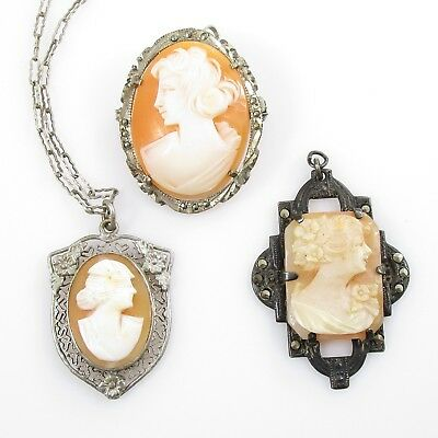 Art Deco Shell Cameo Lot of 3 Pendant Brooch Necklace Vintage Silver Alloy 12.5g