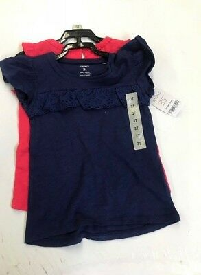 NEW Carters Girls 2 Piece Set Shirts, Blue / Coral Size 3T