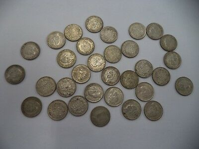 Lot of 32 Netherlands NEDERLAND 10 CENTS 1939 1930's 1940's SILVER Coins