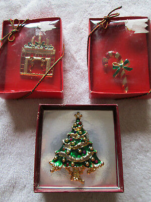 3 VTG Gold Tone Christmas Tree Candy Cane Fireplace Brooch Pin Button Holiday