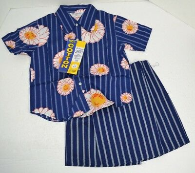 Vintage 1970's Girl's 2pc Shirt & Scooter Skirt Set, Blue Floral 100% Cotton 10
