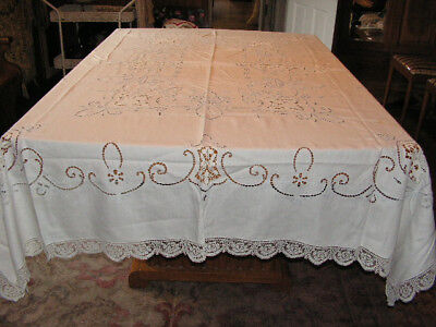 Vintage Cutwork Tablecloth Blue On White Lace Cutwork & 12 Napkins Tablecloth