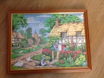 Vintage Completed Paint By Numbers Picture Of Thatched Cottage And Village Churc