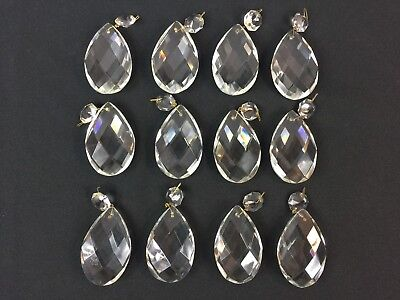 "Vintage Lot of 12 Large 3"" Glass Crystal Chandelier Teardrop Lamp Prism Drops"