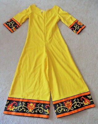 20d446b17e7 EUC Vintage ALFRED SHAHEEN Long Sleeve Yellow Palazzo Jumpsuit Size S M