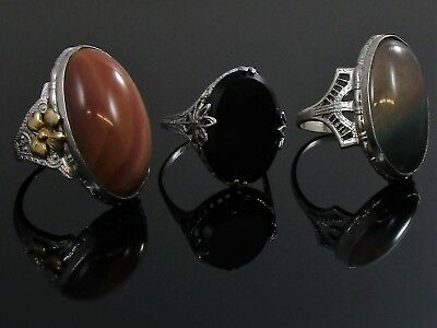 Art Deco Filigree Ring Lot of 3 Vintage Sterling Silver Agate & Onyx 10.2 g