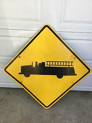 FIRE TRUCK CAUTION  CROSSING AHEAD STREET TRAFFIC SIGN YELLOW BLACK Large 36x36