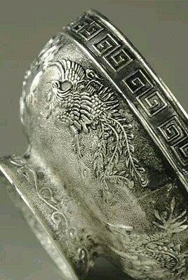 Original Old Decorated Handwork Carving Tibet - Silver bowl Collectible NR