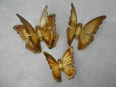 Vtg Home Interior Gold Metal Butterflies Set 3 Good Used Condition