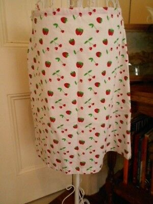 Retro Style Skirt With Strawberry & Cherry Print Fabric