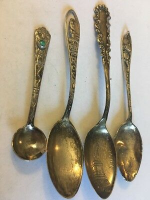 4 Sterling Silver Spoons Florida Statue Of Liberty Rock City Turquoise