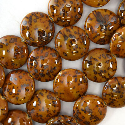 """30mm brown ceramic porcelain coin beads 14"""" strand"""