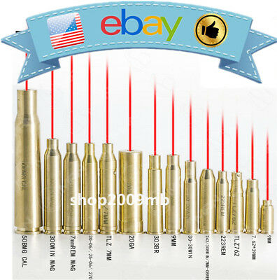 Red Dot Brass Laser Boresight Cartridge Bore Sighter For Scope Tools + Batteries
