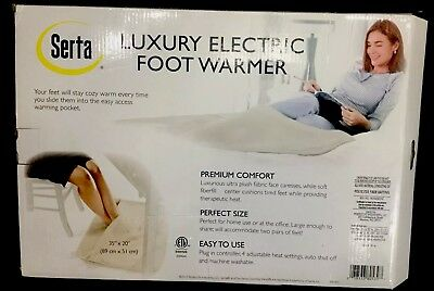 New Serta Therapeutic Electric Foot Warmer Plug In Blanket Heating Pad Cold Feet
