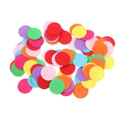 100pcs Round Shape Felt Appliques Mixed Color Die Cut Cardmaking Craft 39mm