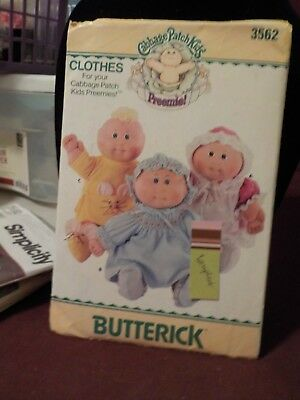 Vintage 1985 Butterick Premmie Cabbage Patch Kids Doll Clothes Pattern #3562