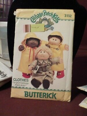 Vintage 1985 Butterick Cabbage Patch Kids Doll Clothes Pattern #3152