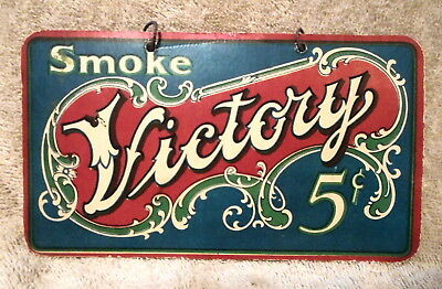 Victory Cigars Hanging 2-sided Cardboard Advertizing Sign....VERY RARE !