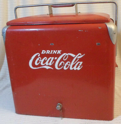 Vintage Coca Cola Cooler Ice Chest Original Red Metal Complete Lid Tray 1950s