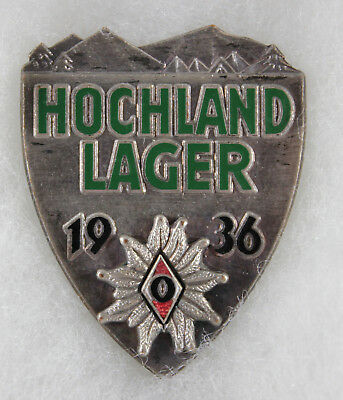 German World War II Silver 1936 Youth HJ Hochland Lager Edelweiss Badge.