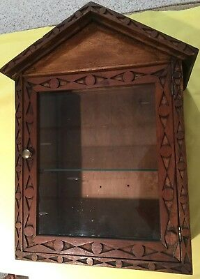 Oak Folk Art Carved Dove Tailed Counter Display/converted Clock Case W/1 Shelf