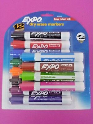 NEW SEALED Expo Low-Odor Dry Erase Markers, Chisel Tip, 12-Pack, Assorted Colors