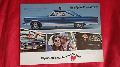 1967 Plymouth Belvedere Color Dealer Promo Brochure 12 X 9 Nice Cond!!