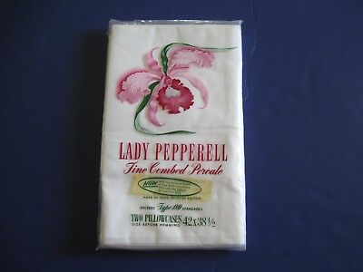 VINTAGE 60s NIP LADY PEPPERELL COTTON PERCALE WHITE  STANDARD PILLOWCASES PAIR