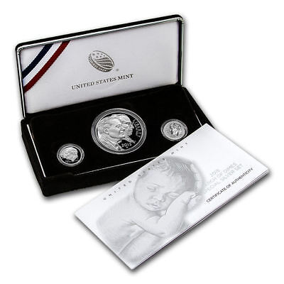 2015 March of Dimes Special Silver 3 Coin Set w/ Reverse Proof, COA, and Box OGP