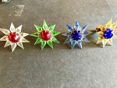WORKING 1930s C6 MATCHLESS WONDER STARS SET 4 CHRISTMAS LIGHT~SINGLE ROW~CRYSTAL