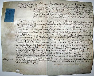 1731 Vellum Signed Document UK BARKING MANOR Brown / Groon Seal Historical *****