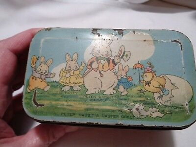 vintage Easter Peter Rabbit candy tin lunchbox style handles gone TINDECO