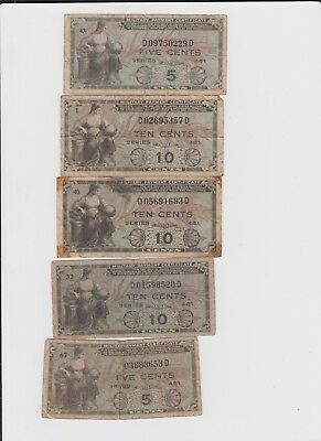 Military Payment Certificates Group of 5 notes  lower grade and up