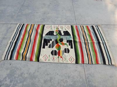 Vintage / Antique Mexican Pictorial Rug / Weaving Mexico Eagle Snake Dsgn - Nice