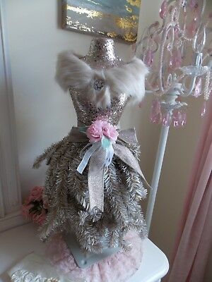 Shabby Victorian Chic Gold Half Scale Dress Form Mannequin Christmas Tree W/rose