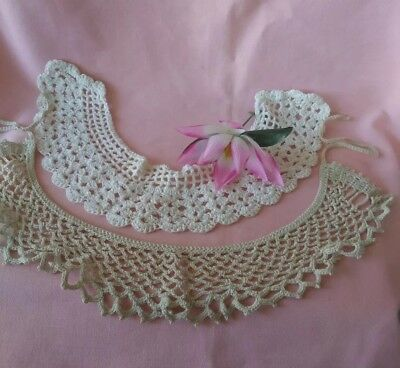 Vintage Lot of Two Handmade Crocheted Collars Antique White & White