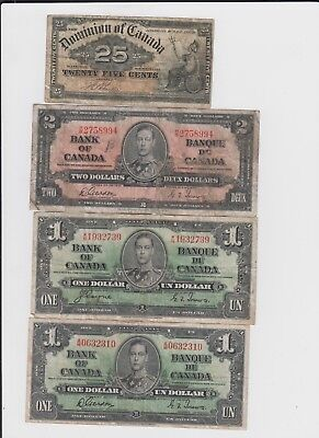 Canada Paper Money  4 notes lower grade and up