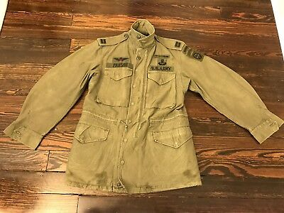 VINTAGE 50s M1951 coat SATEEN ARMY FIELD name jacket military Mens Regular Small