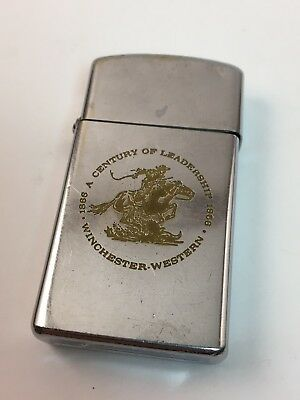 Vintage Winchester Zippo Slim - Cowboy Horse Firearms Advertising