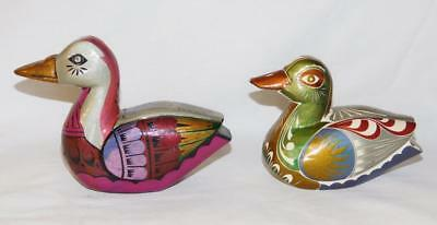 Lot Of 2 Small Solid Hand Carved Hand Painted Mallard Wood Ducks
