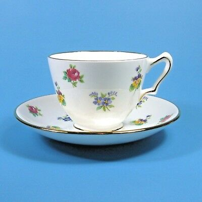 Crown Staffordshire ROSE PANSY Cup & Saucer England Bone China Floral Flowers