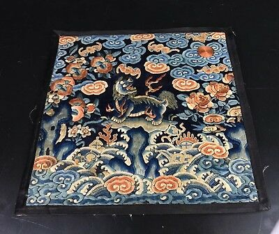 Qing Dynasty Antique 19th Century Chinese Embroidery Silk Military Rank Badge