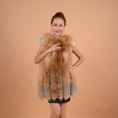 Women's Real Natural Red Fox Fur  Vest Gilet Lady Waistcoat Sleeveless